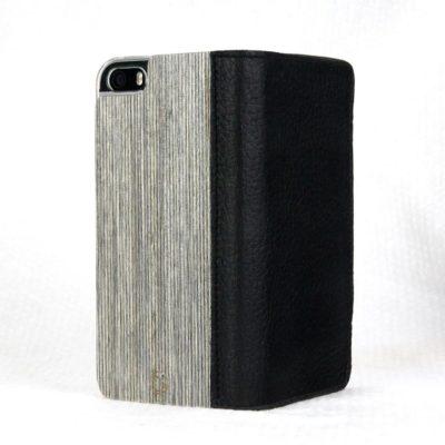Apple iPhone 5 / 5S / SE Lastu Musta Nahka / Kelo Lompakko