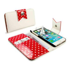 Apple iPhone 6 / 6S Valkoinen / Punainen Polka Kotelo