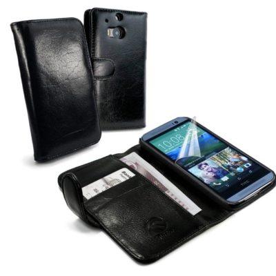 HTC One M8 Musta Tuff-Luv Nahkakotelo