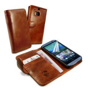 HTC One M8 Ruskea Tuff-Luv Nahkakotelo