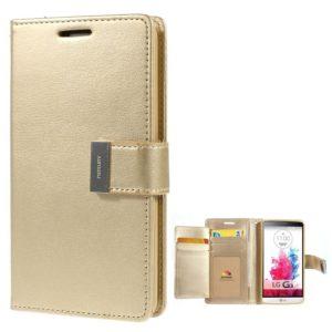 LG G3 Kultainen Rich Diary Lompakkokotelo Suoja