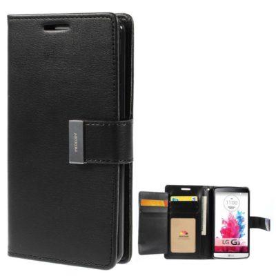 LG G3 Musta Rich Diary Lompakkokotelo Suoja