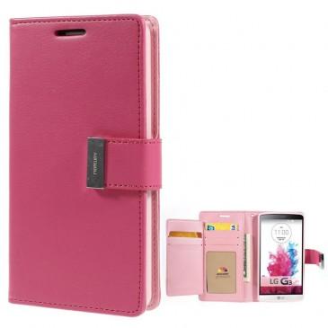 LG G3 Pinkki Rich Diary Lompakkokotelo Suoja