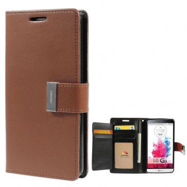 LG G3 Ruskea Rich Diary Lompakkokotelo Suoja