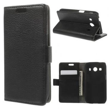 Samsung Galaxy Ace 4 Musta Lompakko Suoja Kotelo