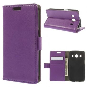 Samsung Galaxy Ace 4 Violetti Lompakkokotelo Suoja