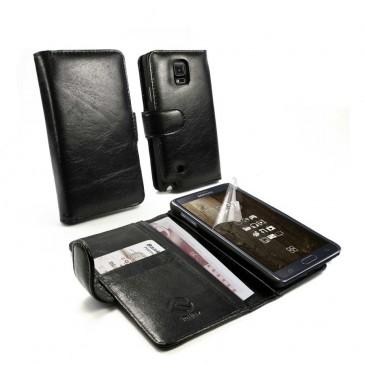 Samsung Galaxy Note 4 Musta Tuff-Luv Nahkakotelo