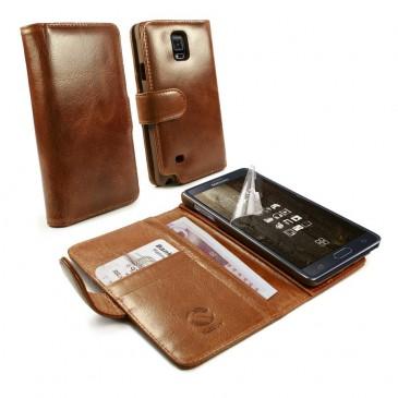 Samsung Galaxy Note 4 Ruskea Tuff-Luv Nahkakotelo