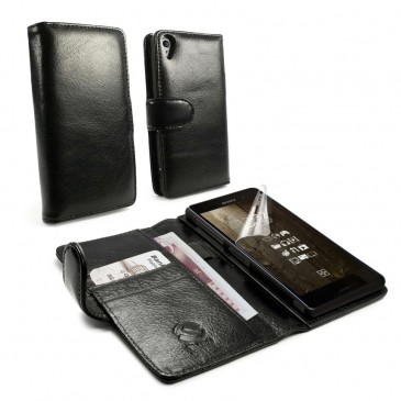 Sony Xperia Z3 Musta Tuff-Luv Nahkakotelo