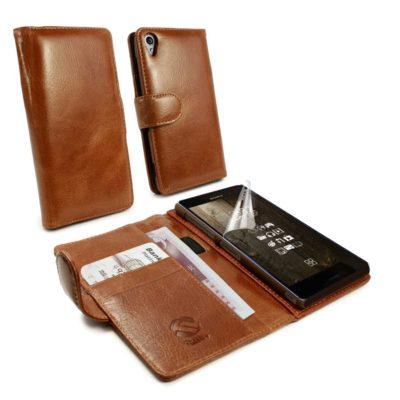 Sony Xperia Z3 Ruskea Tuff-Luv Nahkakotelo