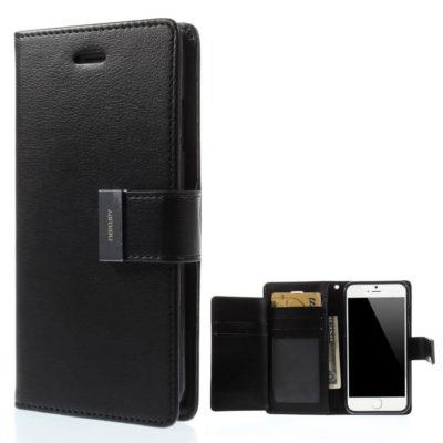 Apple iPhone 6 / 6S Musta Rich Diary Lompakkokotelo