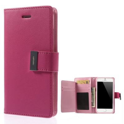 Apple iPhone 6 / 6S Pinkki Rich Diary Lompakkokotelo