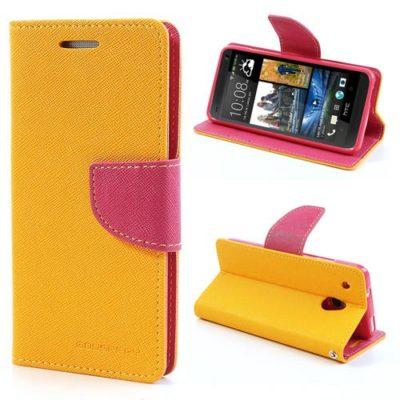 HTC One Mini Keltainen Fancy Lompakko Suojakotelo
