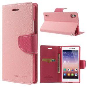 Huawei Ascend P7 Vaaleanpunainen Fancy Kotelo