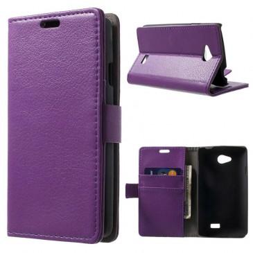 LG F60 Violetti PU-Nahka Lompakko Suojakuori