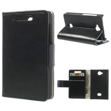Nokia Asha 503 Musta PU-Nahka Suojakotelo