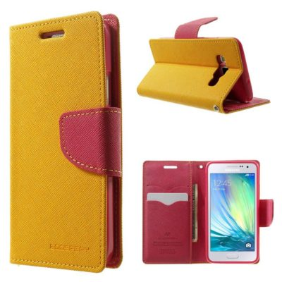 Samsung Galaxy A3 Keltainen Fancy Lompakkokotelo