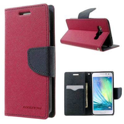 Samsung Galaxy A3 Pinkki Fancy Lompakkokotelo