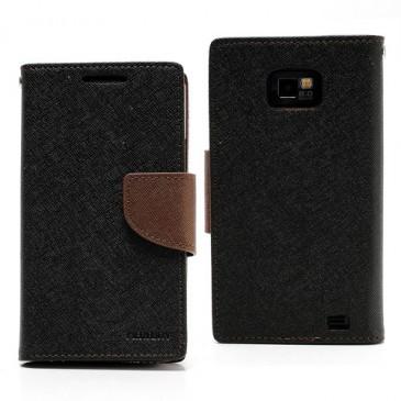 Samsung Galaxy S2 Musta Fancy Lompakko Suojakuori
