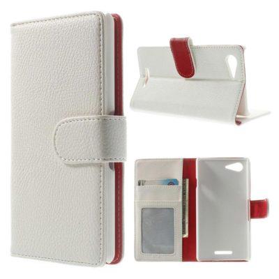 Sony Xperia E3 Valkoinen Lompakko Suojakotelo