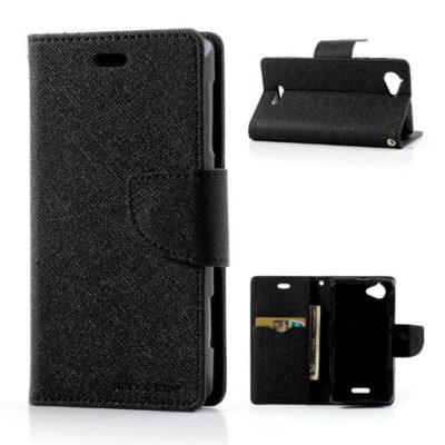 Sony Xperia L Musta Fancy Lompakko Suojakotelo