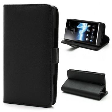 Sony Xperia S Musta Lompakko Suojakotelo