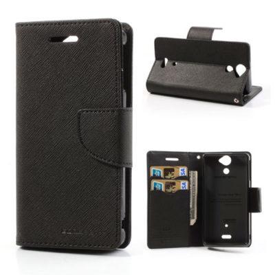 Sony Xperia V Musta Fancy Lompakko Suojakotelo