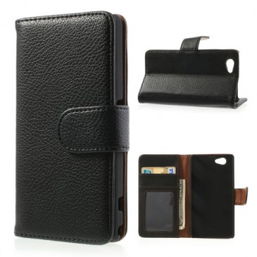 Sony Xperia Z1 Compact Musta Lompakko Suojakuori