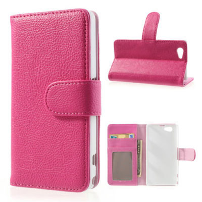 Sony Xperia Z1 Compact Pinkki Lompakko Suojakuori