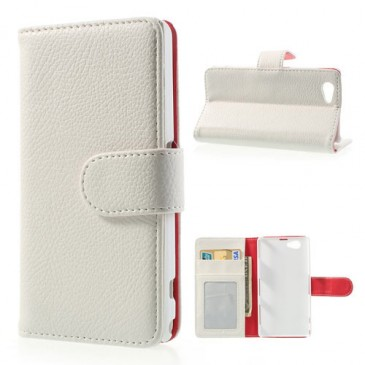 Sony Xperia Z1 Compact Valkoinen Lompakko Suojakuori