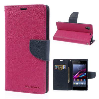 Sony Xperia Z1 Pinkki Fancy Lompakko Suojakotelo