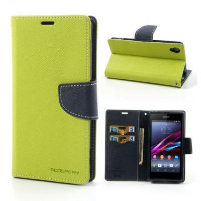 Sony Xperia Z1 Vihreä Fancy Lompakko Suojakotelo