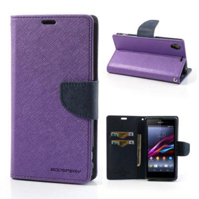 Sony Xperia Z1 Violetti Fancy Lompakko Suojakotelo