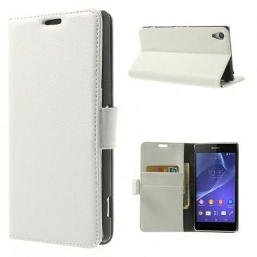 Sony Xperia Z2 Valkoinen Lompakko Läppäkotelo