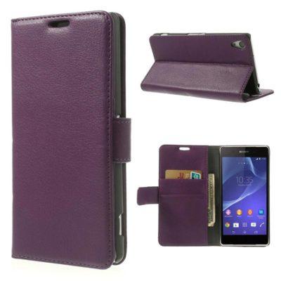 Sony Xperia Z2 Violetti Lompakko Suojakotelo