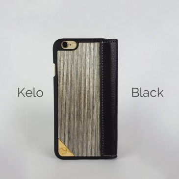 Apple iPhone 6/6S/7 Lastu Musta Nahka / Kelo Lompakko