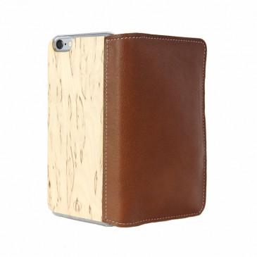 Apple iPhone 6 Plus Lastu Ruskea Nahka / Visakoivu Lompakko