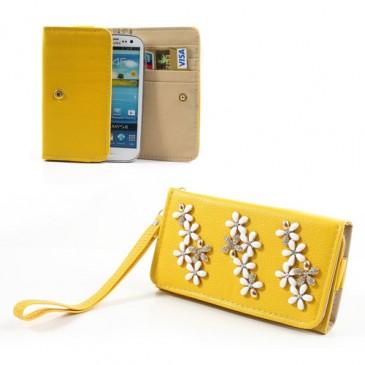 Keltainen Yleismallinen Kukka Lompakkokotelo