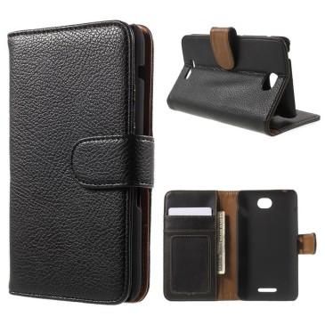 Sony Xperia E4 Lompakkokotelo Musta