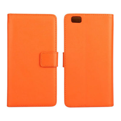 Huawei P8 Lite Oranssi Nahka Lompakkokotelo