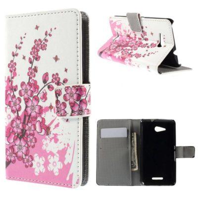 Sony Xperia E4g Lompakkokotelo Kukka 2
