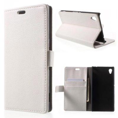 Sony Xperia M4 Aqua Valkoinen Lompakkokotelo