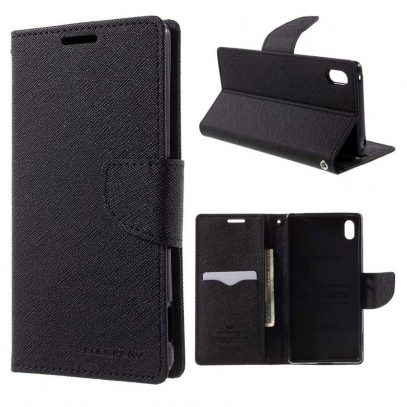 Sony Xperia Z3+ Musta Fancy Lompakkokotelo