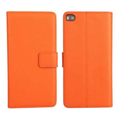 Huawei P8 Oranssi Lompakko Nahkakotelo