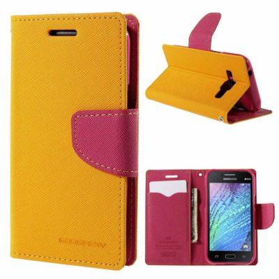 Samsung Galaxy J1 Keltainen Fancy Suojakotelo