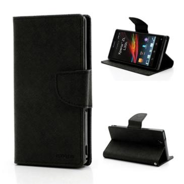 Sony Xperia Z Musta Fancy Lompakko Suojakotelo