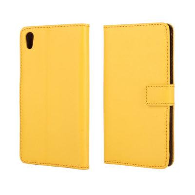 Sony Xperia Z5 Suojakotelo Keltainen Nahka