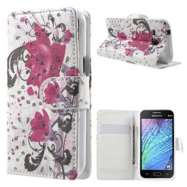 Samsung Galaxy J1 Kotelo Kimalle Kukka 1