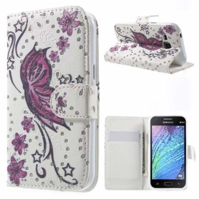 Samsung Galaxy J1 Kotelo Kimalle Perhonen 1