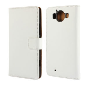 Microsoft Lumia 950 Kotelo Valkoinen Nahka